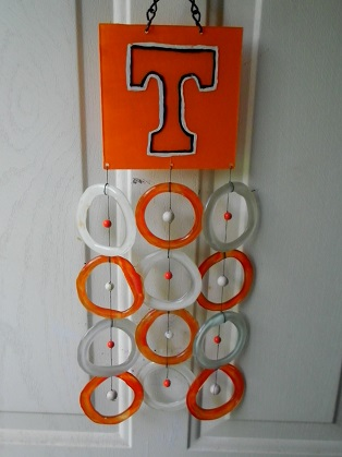 Tennessee Titans with Orange & White Rings - Glass Wind Chimes