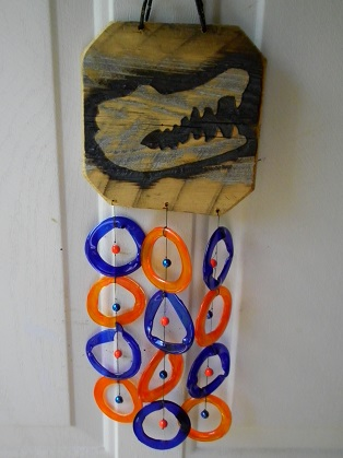 Gator burned on wood with Orange & Blue Rings - Glass Wind Chimes