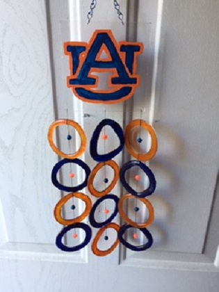 Alabama University with Blue and Orange Rings - Glass Wind Chimes