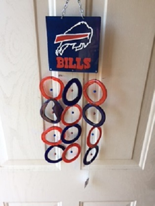 Buffalo Bills with Blue and Orange Rings - Glass Wind Chimes