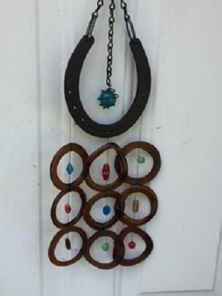 Horse Shoe with Brown Rings - Glass Wind Chimes