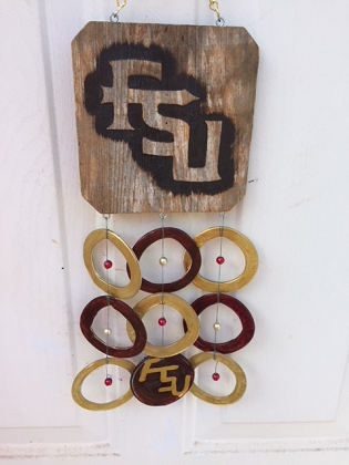 FSU with Gold and Browm Rings - Glass Wind Chimes