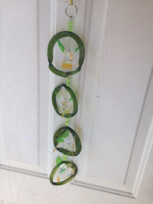 Green and Clear Hummingbirds with Green Rings - Glass Wind Chimes