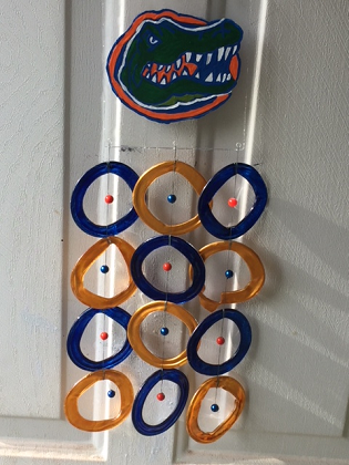 Florida Gators with Orange and Blue Rings - Glass Wind Chimes