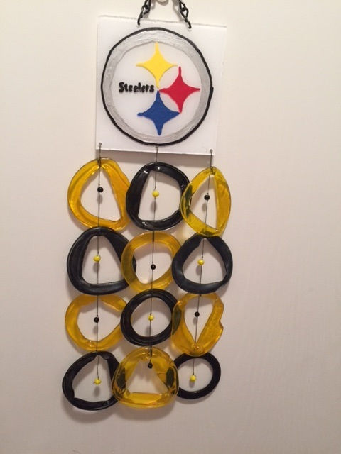 Steelers with Brown and Gold Rings - Glass Wind Chimes