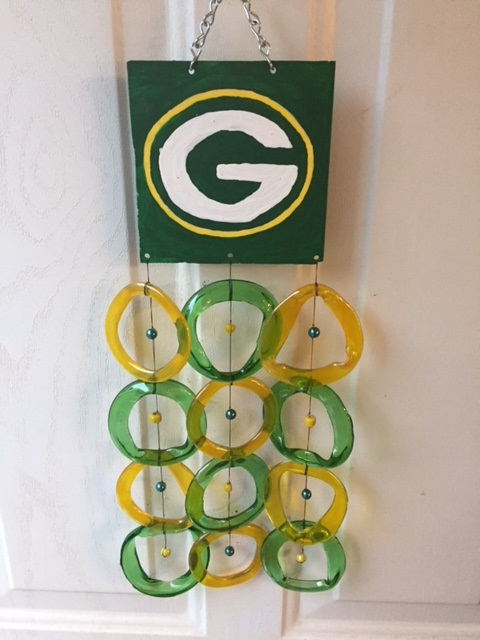 Green Bay Packers with Gold and Green Rings - Glass Wind Chimes
