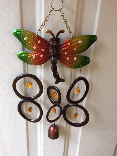 Dragon Fly with Brown Rings - Glass Wind Chimes