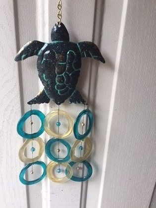 Aqua Turtle with Aqua and Gold Rings - Glass Wind Chimes