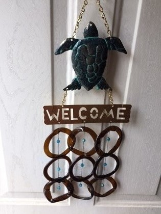 Aqua Turtle Welcome with Brown Rings - Glass Wind Chimes