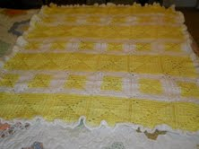 Yellow & White Croched Blanket